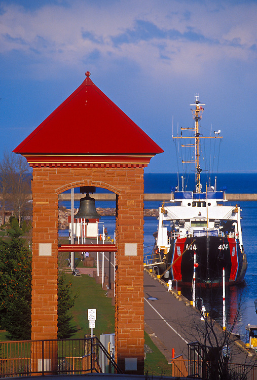 The U.S. Coast Guard buoy tender Sundew docks at the lower harbor sea wall in Marquette, Mich.