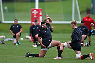 Leon Brown, the Wales rugby player holds up his hand during the Wales rugby team training session at the Vale Resort Hotel in Hensol, near Cardiff , South Wales on Thursday  16th November 2017.  the team are preparing for their Autumn International series match against Georgia this weekend.   pic by Andrew Orchard