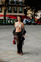 Street style, Camelia Bourbon arriving at Ludovic de Saint Sernin Spring Summer 2022 show, held at Institut du Monde Arabe, Paris, France, on Ocotber 3rd, 2021. Photo by Marie-Paola Bertrand-Hillion/ABACAPRESS.COM