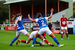 Sarah Mayling of Birmingham City Women fouls Chloe Logarzo of Bristol City Women- Mandatory by-line: Will Cooper/JMP - 18/10/2020 - FOOTBALL - Twerton Park - Bath, England - Bristol City Women v Birmingham City Women - Barclays FA Women's Super League