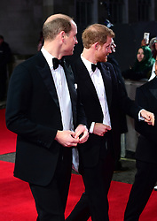 The Duke of Cambridge and Prince Harry attending the european premiere of Star Wars: The Last Jedi held at The Royal Albert Hall, London. PRESS ASSOCIATION Photo. Picture date: Tuesday December 12, 2017. See PA story SHOWBIZ StarWars. Photo credit should read: Ian West/PA Wire