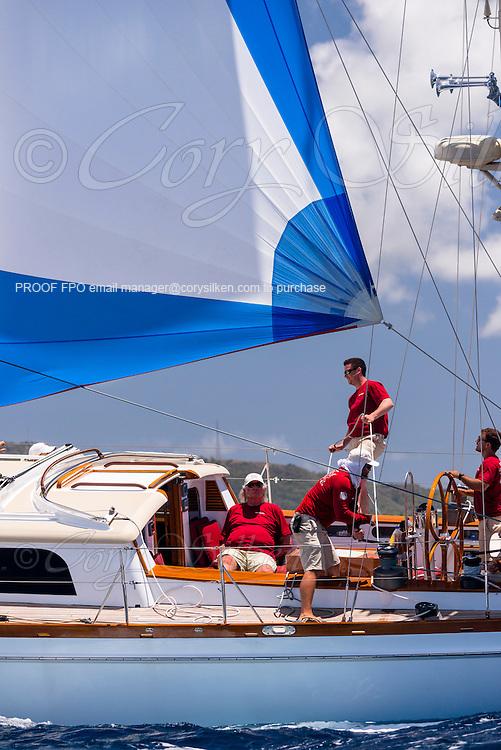 Dragonera sailing in the Antigua Classic Yacht Regatta, Windward Race.