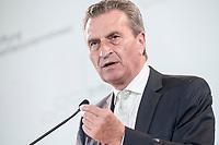 28 JUN 2019, BERLIN/GERMANY:<br /> Guenther Oettinger, EU-Kommissar fuer Haushalt und Personal, haelt eine Rede, Tag des Deutschen Familienunternehmens, Hotel Adlon<br /> IMAGE: 20190628-01-315<br /> KEYWORDS: Günther Oettinger