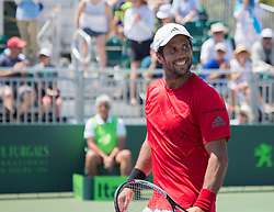 March 26, 2018 - Miami, Florida, United States - Fernando Verdasco, from Spain, reacts after defeating Thanasi Kokkinakis, from Australia at the Miami Open. Verdasco defeated Kokkinakis 3-6, 6-4, 7-6(4)  in Key Biscayne, on March 26, 2018. (Credit Image: © Manuel Mazzanti/NurPhoto via ZUMA Press)