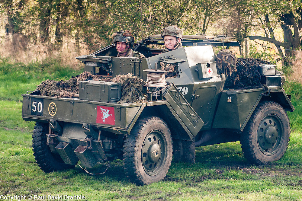 """Reenactors portraying the 6th Airorne Division, in a  Daimler Scout Car """"Dingo"""" at the Pickering Showground Day 2<br /> 14 October 2012<br /> Image © Paul David Drabble"""