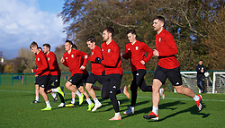 CARDIFF, WALES - Monday, November 12, 2018: Wales' David Brooks, Connor Roberts, Harry Wilson, Aaron Ramsey, Tom Lawrence and Sam Vokes during a training session at the Vale Resort ahead of the UEFA Nations League Group Stage League B Group 4 match between Wales and Denmark. (Pic by David Rawcliffe/Propaganda)