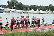Eton Dorney, Windsor, Great Britain,..2012 London Olympic Regatta, Dorney Lake. Eton Rowing Centre, Berkshire[ Rowing]...Description;  Men's Eights Medals left to right, .GBR.M8+ Alex PARTRIDGE (b) , James FOAD (2) , Tom RANSLEY (3) , Richard EGINGTON (4) , Mohamed SBIHI (5) , Greg SEARLE (6) , Matt LANGRIDGE (7) , Constantine LOULOUDIS (s) , Phelan HILL (c)  Dorney Lake..13:00:22  Wednesday  01/08/2012..[Mandatory Credit: Peter Spurrier/Intersport Images].