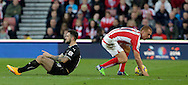 Two-goal Danny Ings of Burnley and Steve Sidwell of Stoke head in opposite directions - Football - Barclays Premier League - Stoke City vs Burnley - Britannia Stadium Stoke - Season 2014/2015 - 22nd November 2015 - Photo Malcolm Couzens /Sportimage