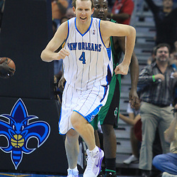 11 February 2009: New Orleans Hornets forward Sean Marks (4) reacts after a score during a NBA game between the Boston Celtics and the New Orleans Hornets at the New Orleans Arena in New Orleans, LA.