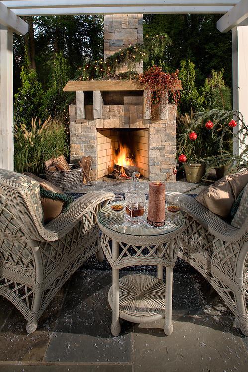 fireplace. Deck patio Verandah Porch