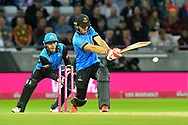 Laurie Evans of Sussex hits the ball to the boundary for four runs during the final of the Vitality T20 Finals Day 2018 match between Worcestershire Rapids and Sussex Sharks at Edgbaston, Birmingham, United Kingdom on 15 September 2018.