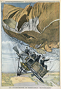 French military airship La Republique which made her maiden flight from Paris to Compiegne.  Crashed on manoeuvres when propeller tore envelope, October 1909. From 'Le Petit Journal' 10 October, Paris, 1909