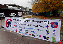 10 November 2018. Compèigne, France.<br /> Tournio Rugby de l'Armistice.<br /> A rugby tournament in the heart of the Somme region in honour of those who perished in the Great War100 years ago.<br /> The RCC. Rugby Club Compiegne.<br /> Photo©; Charlie Varley/varleypix.com