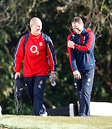 Picture by Andrew Tobin/Focus Images Ltd +44 7710 761829.08/02/2013.Staurt Lancaster ( L ) and Mike Catt of England during a Training at Pennyhill Park, Bagshot.