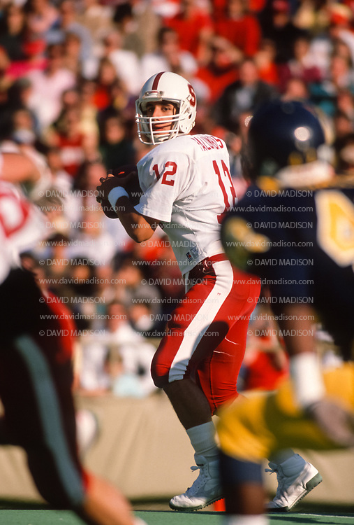 COLLEGE FOOTBALL: Jason Palumbis #12, Stanford vs Cal in the annual Big Game played on November 19, 1988  at Memorial Stadium in Berkeley, California.  Photography by David Madison   www.davidmadison.com.