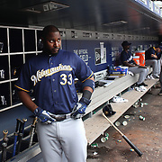 NEW YORK, NEW YORK - May 22:  Chris Carter #33 of the Milwaukee Brewers in the dugout preparing to bat during the Milwaukee Brewers Vs New York Mets regular season MLB game at Citi Field on May 22 2016 in New York City. (Photo by Tim Clayton/Corbis via Getty Images)