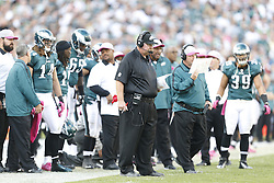 Philadelphia Eagles head coach Andy Reid on the sideline during the NFL game between the Detroit Lions and the Philadelphia Eagles on Sunday, October 14th 2012 in Philadelphia. The Lions won 26-23 in Overtime. (Photo by Brian Garfinkel)