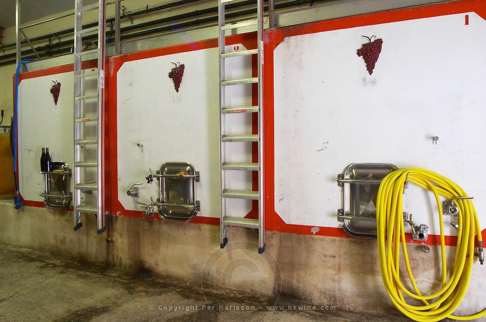 Domaine Clos Marie. Pic St Loup. Languedoc. Concrete fermentation and storage vats. France. Europe.