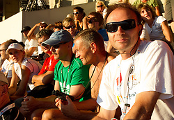 Boris Mikuz (R) of Athletic federation of Slovenia watching Snezana Rodic of Slovenia when she competes during the women's triple jump final at the 2010 European Athletics Championships at the Olympic Stadium in Barcelona on July 31, 2010.(Photo by Vid Ponikvar / Sportida)