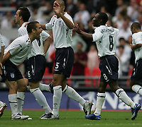 Photo: Lee Earle.<br /> England v Israel. UEFA European Championships Qualifying. 08/09/2007.England's Joe Cole(L) celebrates with Shaun Wright Phillips after he scored their first goal.