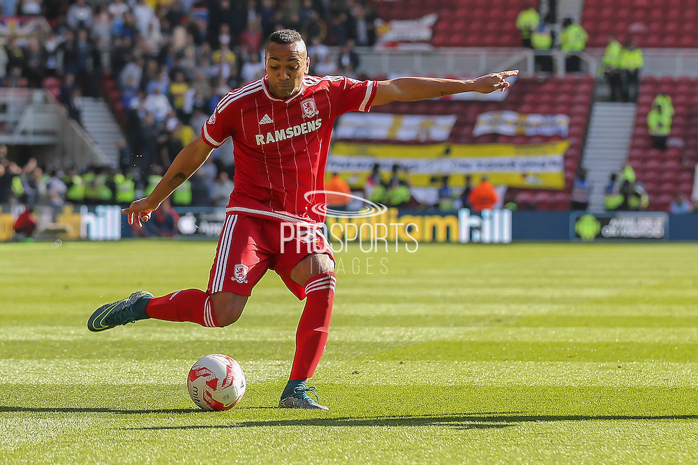 Middlesbrough midfielder Emilio Nsue crosses the ball in  during the Sky Bet Championship match between Middlesbrough and Leeds United at the Riverside Stadium, Middlesbrough, England on 27 September 2015. Photo by Simon Davies.