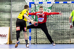 23.02.2018, BSFZ Suedstadt, Maria Enzersdorf, AUT, HLA, SG INSIGNIS Handball WESTWIEN vs Bregenz Handball, Bonus-Runde, 3. Runde, im Bild Leo Nikolic (SG INSIGNIS Handball WESTWIEN) // during Handball League Austria, Bonus-Runde, 3 rd round match between SG INSIGNIS Handball WESTWIEN and Bregenz Handball at the BSFZ Suedstadt, Maria Enzersdorf, Austria on 2018/02/23, EXPA Pictures © 2018, PhotoCredit: EXPA/ Sebastian Pucher