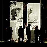 (PMONMOUTH) Highlands 9/11/2003  Gathering at the Highlands Veterans park where a candlelight vigil was held to remeber those lost in the attacks of Sept 11th. Here people gather around the Memoria project after the vigil   Michael J. Treola Staff Photographer....