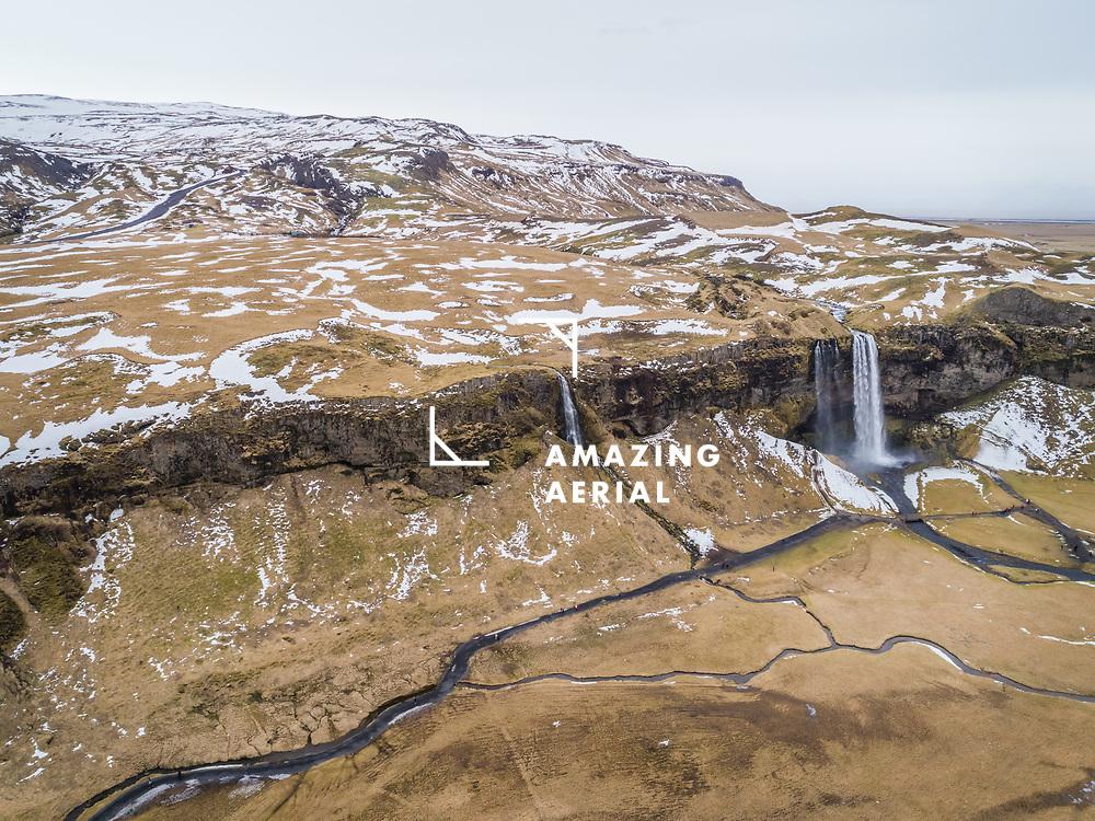 Aerial view of Gljúfrabúi waterfall in Iceland.