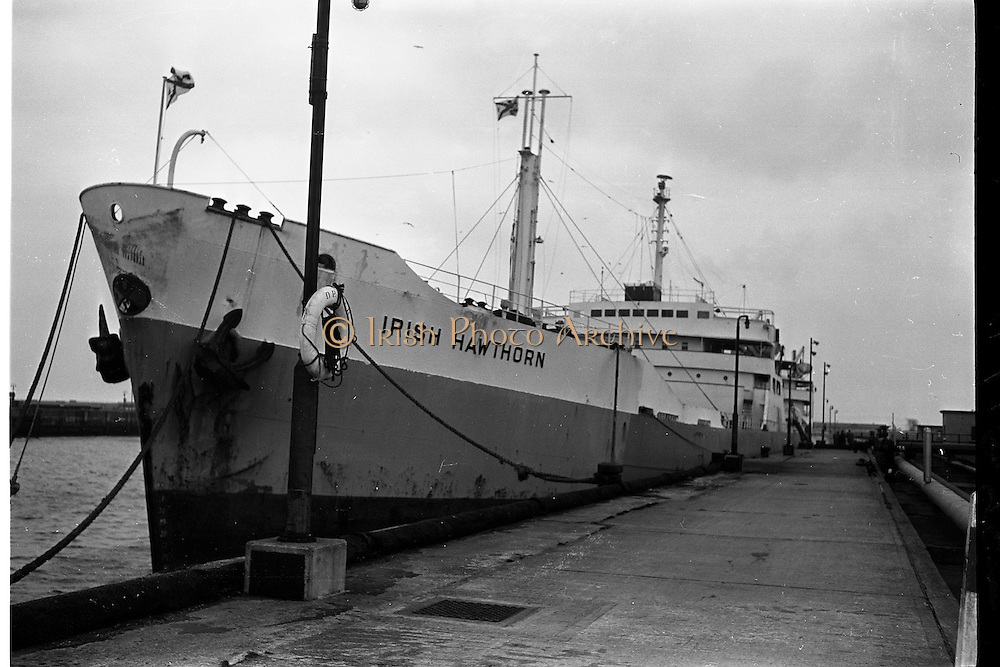 """20/01/1963<br /> 01/20/1963<br /> 20 January 1963<br /> The """"Irish Hawthorn"""" an 18,000 tanker and the biggest fleet of Irish Shipping Ltd., paying her first visit to Dublin with a cargo from Whitegate Oil Refinery, Co. Cork. Image shows the ship at dock in Dublin port."""
