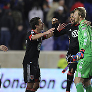Joe Willis the D.C. United goalkeeper celebrates his sides win with team mates at the final whistle during the New York Red Bulls V D.C. United Major League Soccer, Eastern Conference Semi Final 2nd Leg match at Red Bull Arena, Harrison. New Jersey. USA. 8th November 2012. Photo Tim Clayton