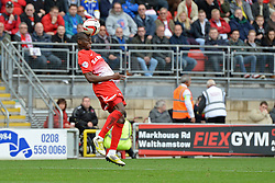 Leyton Orient's Moses Odubajo heads the ball - Photo mandatory by-line: Mitchell Gunn/JMP - Tel: Mobile: 07966 386802 12/10/2013 - SPORT - FOOTBALL - Brisbane Road - Leyton - Leyton Orient V MK Dons - League One