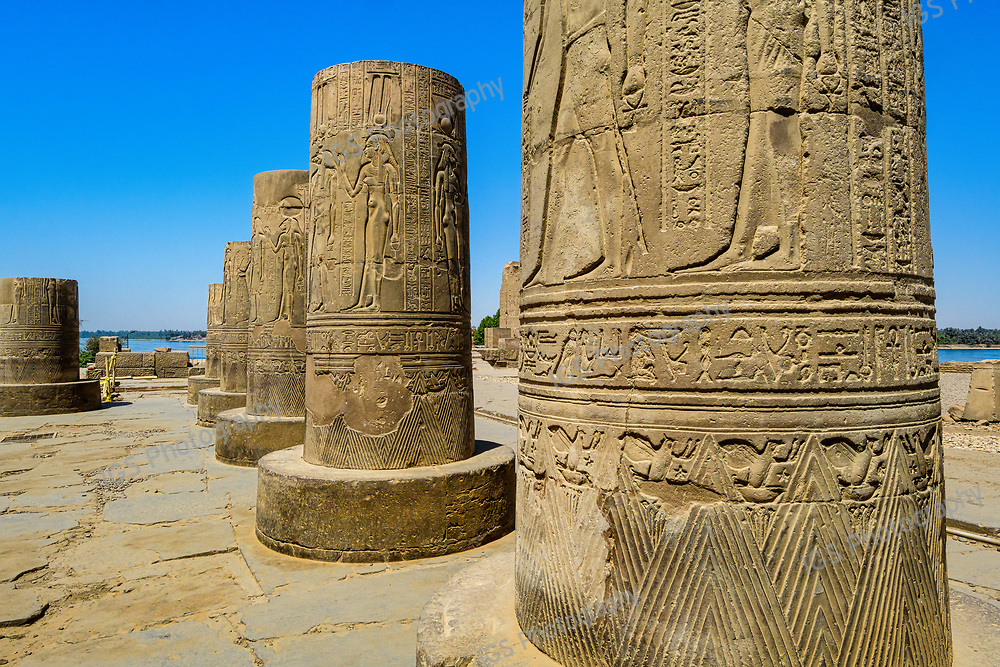 Details on the broken columns in the Temple of Sobek at  Kom Ombo