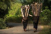 Adi Gallong carrying wood<br /> Adi Gallong Tribe<br /> Arunachal Pradesh<br /> North East India