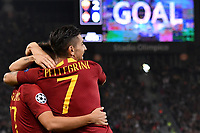 Cengiz Under of AS Roma celebrates with Lorenzo Pellegrini after scoring the goal of 3-0 during the Uefa Champions League 2018/2019 Group G football match between AS Roma and CSKA Moscow at Olimpico stadium Allianz Stadium, Rome, October, 23, 2018 <br />  Foto Andrea Staccioli / Insidefoto