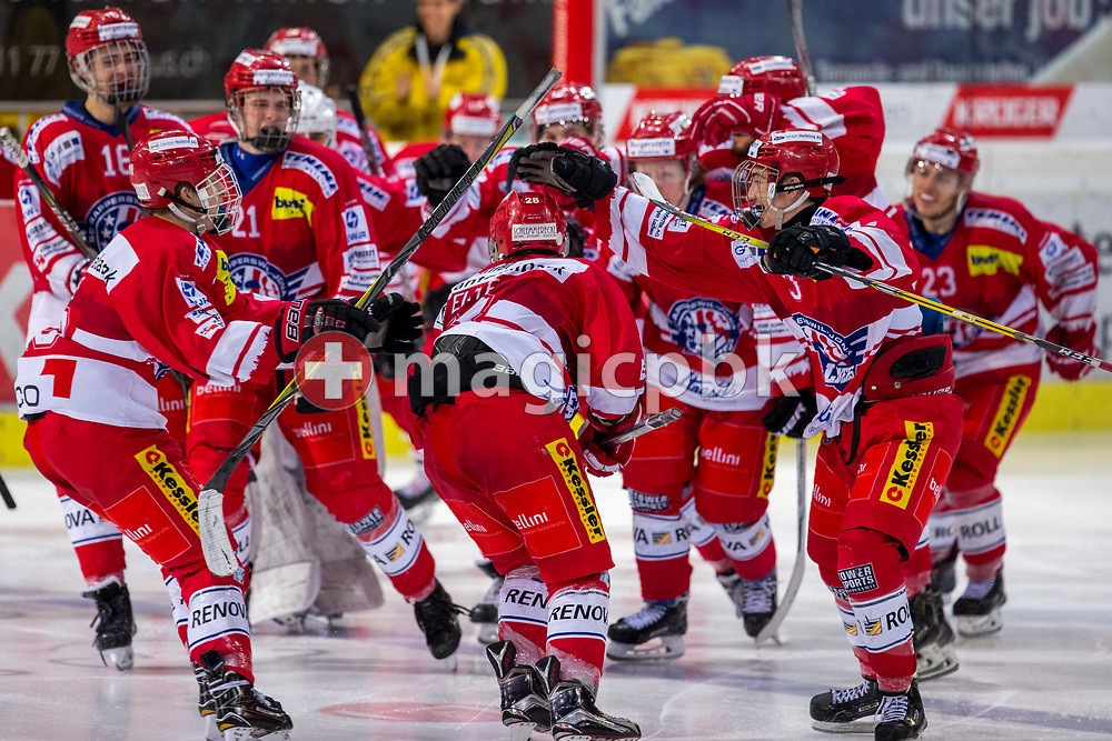 Rapperswil-Jona Lakers forward Siro Rutzer (C) celebrates with his teammates after scoring the winning goal during Overtime to the final score of 6-5 during ice hockey game 1 of the Elite B Playoff Final between Rapperswil-Jona Lakers and EHC Chur Capricorns in Rapperswil, Switzerland, Friday, March 9, 2018. (Photo by Patrick B. Kraemer / MAGICPBK)