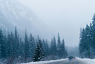 Winter on the Crowsnest Highway at Allison Pass in Southern British Columbia, Canada