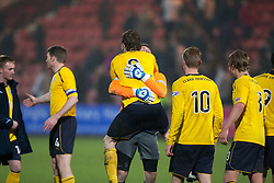 Falkirk's Blair Alston (8) celebrates at the end of the game after scoring their goal..Dunfermline 0 v 1 Falkirk, 26/12/2012..©Michael Schofield.
