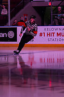 KELOWNA, BC - JANUARY 24: Referee Mike Campbell warms up on the ice at the Kelowna Rockets against the Seattle Thunderbirds at Prospera Place on January 24, 2020 in Kelowna, Canada. (Photo by Marissa Baecker/Shoot the Breeze)