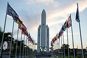 Mcc0084404 . Daily Telegraph<br /> <br /> Aeolus Satellite Launch<br /> <br /> A mockup of an Ariane 5 rocket outside the Jupiter Control at the European Space Centre in French Guiana .<br /> <br /> Kourou, French Guiana 21 August 2018