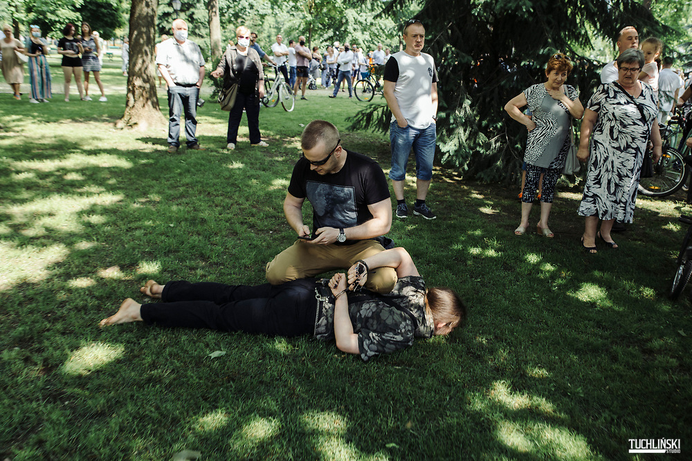Suwalki. Poland; 22.06.2020 <br /> Rafal Trzaskowski , the current Mayor of Warsaw and Civic Platform's candidate for Presidency of Poland, seen during his visit to Suwalki. <br /> The police are arguing the perpetrator of the attack (with a bottle of Domestos fluid) to hand him over to the police.<br /> Photo by Adam Tuchlinski for Die Zeit