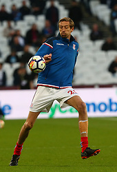 April 16, 2018 - London, England, United Kingdom - Stoke City's Peter Crouch during the pre-match warm-up .during English Premier League match between West Ham United and Stoke City at London stadium, London, England on 16 April 2018. (Credit Image: © Kieran Galvin/NurPhoto via ZUMA Press)