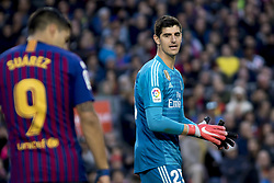 October 28, 2018 - Barcelona, Catalonia, Spain - Thibaut Courtois during the spanish league match between FC Barcelona and Real Madrid at Camp Nou Stadium in Barcelona, Catalonia, Spain on October 28, 2018  (Credit Image: © Miquel Llop/NurPhoto via ZUMA Press)