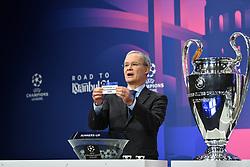 NYON, SWITZERLAND - Monday, December 14, 2020: UEFA Deputy General Secretary Giorgio Marchetti draws out Borussia Monchengladbach during the UEFA Champions League 2020/21 Round of 16 draw at the UEFA Headquarters, the House of European Football. (Photo Handout/UEFA)