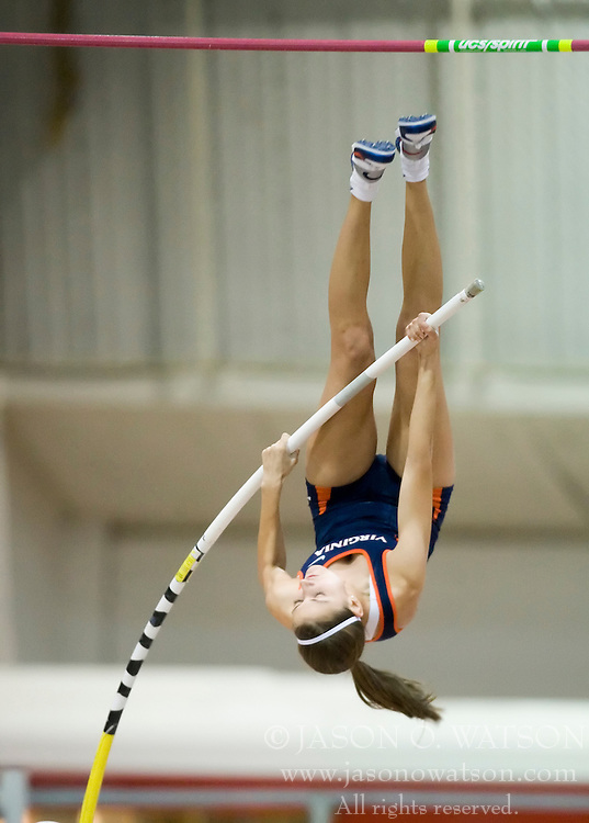 Kathleen Darraugh (Virginia) competes in the pole vault.  Day 1 of the Virginia Tech Invitational Track and Field meet was held at the Rector Field House on the campus of Virginia Tech in Blacksburg, VA on January 11, 2008.