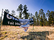"""04 JUNE 2011 - EAGAR, AZ: A sign announces that Greer days has been cancelled because of the Wallow Fire. The fire grew to more than 140,000 acres early Saturday with zero containment. A """"Type I"""" incident command team has taken command of the fire. PHOTO BY JACK KURTZ"""