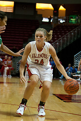 13 November 2005:  Amber Shelton works the defense to get inside. With a final score was 93-58, the Illinois State University Redbirds overcome the Bearcats of Northwest Missouri State in an exhibition match up Sunday afternoon at Redbird Arena in Normal Illinois.  The final score was 93-58.