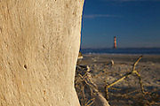 Sunrise over Folly Beach viewing the Morris Lighthouse through driftwood near Charleston, SC. Morris Lighthouse dates back to 1767 but was rebuilt in the current form in 1873 after it was destroyed in the civil war.