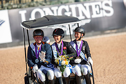 Podium Grade V, Wells Sophie, GBR, Hosmar Frank, NED, Mispelkamp Regine, GER<br /> World Equestrian Games - Tryon 2018<br /> © Hippo Foto - Sharon Vandeput<br /> 18/09/2018