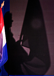 Dutch flag and shadow during Netherlands vs Malta on LEN European Aquatics Waterpolo January 21, 2020 in Duna Arena in Budapest, Hungary