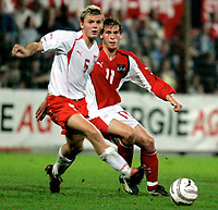◊Copyright:<br />GEPA pictures<br />◊Photographer:<br />Norbert Juvan<br />◊Name:<br />Wojciechowski<br />◊Rubric:<br />Sport<br />◊Type:<br />Fussball<br />◊Event:<br />U-21 EM Qualifikation, Laenderspiel, Oesterreich vs Polen, AUT vs POL<br />◊Site:<br />Steyr, Austria<br />◊Date:<br />08/10/04<br />◊Description:<br />Pawel Wojciechowski (POL), Juergen Saeumel (AUT)<br />◊Archive:<br />DCSNJ-0810041339<br />◊RegDate:<br />08.10.2004<br />◊Note:<br />8 MB - BG/BG